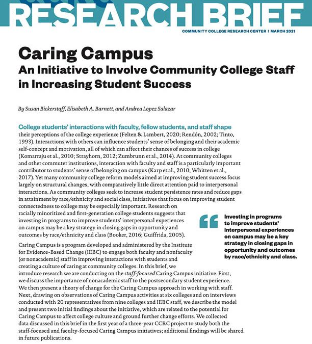 New Report from Community College Research Center